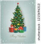 christmas tree with decorations ... | Shutterstock .eps vector #1215696313