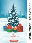 christmas tree with decorations ... | Shutterstock .eps vector #1215696370