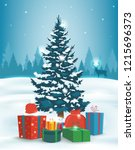 christmas tree with decorations ... | Shutterstock .eps vector #1215696373