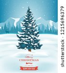 christmas tree with decorations ... | Shutterstock .eps vector #1215696379