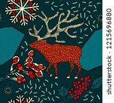 winter seamless pattern design. ...   Shutterstock .eps vector #1215696880