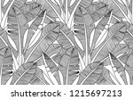black and white exotic plant... | Shutterstock .eps vector #1215697213