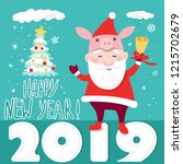 funny happy new year card... | Shutterstock .eps vector #1215702679