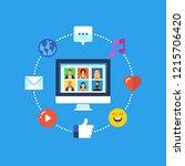 social media network. flat...   Shutterstock .eps vector #1215706420