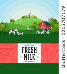 vector milk illustration with... | Shutterstock .eps vector #1215707179