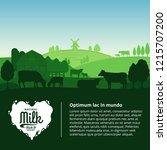 vector milk illustration with... | Shutterstock .eps vector #1215707200