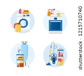 set of flat design vector icons ...   Shutterstock .eps vector #1215710740