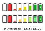 battery charge indicator icons... | Shutterstock .eps vector #1215713179