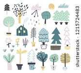 cute set of abstract trees.... | Shutterstock .eps vector #1215724483