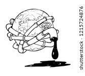 globe entangled with oil... | Shutterstock .eps vector #1215724876