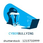 cyberbullying concept  sad... | Shutterstock .eps vector #1215733999
