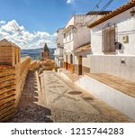 small street in the historic... | Shutterstock . vector #1215744283