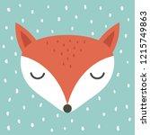 cute fox cartoon scandinavian... | Shutterstock .eps vector #1215749863