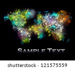 world map lights and fireworks | Shutterstock . vector #121575559
