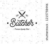 butcher shop emblem. butchery... | Shutterstock .eps vector #1215758446