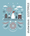 merry christmas greeting card   ... | Shutterstock .eps vector #1215759013
