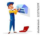 air conditioner repair... | Shutterstock . vector #1215762199