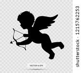 Stock vector silhouette of cupid cupid holding arrow isolated on white vector 1215762253