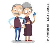 elderly couple personage... | Shutterstock .eps vector #1215765586