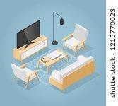vector isometric living room in ... | Shutterstock .eps vector #1215770023