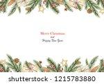 watercolor christmas banner... | Shutterstock . vector #1215783880