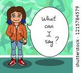 girl teenager cartoon character ... | Shutterstock . vector #1215784579