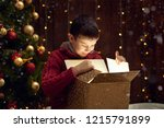 child boy sitting with gift box ... | Shutterstock . vector #1215791899