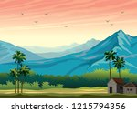 tropical nature landscape with... | Shutterstock .eps vector #1215794356