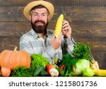 man cheerful bearded farmer... | Shutterstock . vector #1215801736
