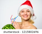 girl attractive nude wear santa ... | Shutterstock . vector #1215802696