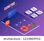 isometric vector. set of mobile ...