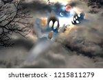 halloween background. two...   Shutterstock . vector #1215811279