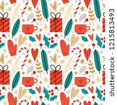 seamless vector pattern with... | Shutterstock .eps vector #1215813493