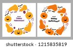 halloween greeting cards with... | Shutterstock .eps vector #1215835819
