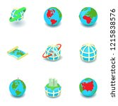 business worldwide icons set.... | Shutterstock .eps vector #1215838576