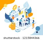 vector illustration. team work... | Shutterstock .eps vector #1215844366