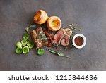 roast beef with yorkshire...   Shutterstock . vector #1215844636