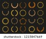 vector laurel autumn wreaths on ... | Shutterstock .eps vector #1215847669
