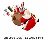 running santa claus carrying... | Shutterstock .eps vector #1215859846