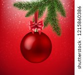 xmas red background with... | Shutterstock .eps vector #1215860386