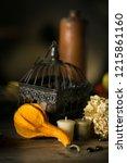 decorations on halloween... | Shutterstock . vector #1215861160