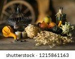 decorations on halloween... | Shutterstock . vector #1215861163