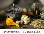 decorations on halloween... | Shutterstock . vector #1215861166