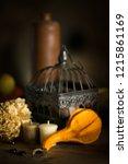decorations on halloween... | Shutterstock . vector #1215861169