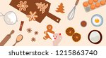cooking and icing ginger... | Shutterstock .eps vector #1215863740