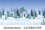 winter landscape with snowy... | Shutterstock .eps vector #1215864709