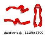 set of red ribbons on white... | Shutterstock .eps vector #1215869500