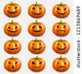 pumpkin set isolated... | Shutterstock . vector #1215869689
