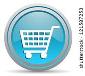 shopping cart blue glossy icon... | Shutterstock . vector #121587253