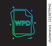 wpd file type icon design vector